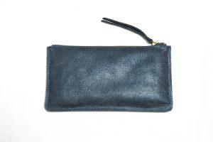 Trousse-cuir pailleté-bleu pétrole-galerie-eber-specher-maroquinerie